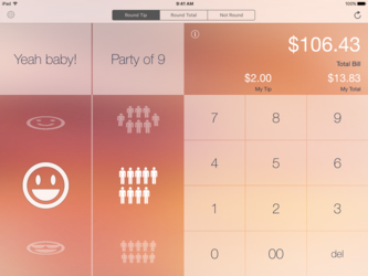 iiPad main page with all the options to split the bill